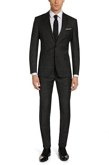 Extra-slim-fit suit in new wool: 'Reyno1/Wave1', Black