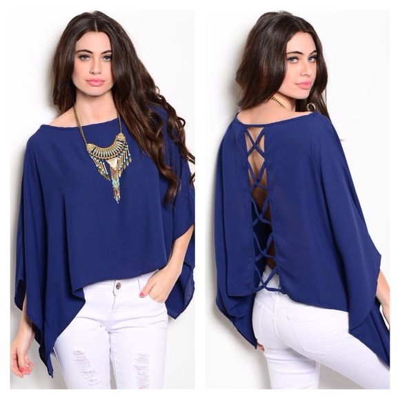 🌸HP 8/24🌸🆕Crisscross Navy Top-Last One!! 5🌟Rated! Brand New beautiful Navy Blue woven top featuring batwing flutter sleeves and a relaxed fit. Love the crisscross back detail!💙100% Poly Made in USA🇺🇸💫Fits true to size💫🔴NO TRADES🔴PRICE FIRM UNLESS BUNDLED🔴 LDB Tops