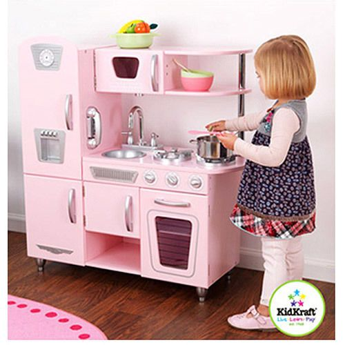 Kidkraft Retro Vintage Kitchen Refrigerator Kids Cooking Pretend Play Set Pink Kidkraft