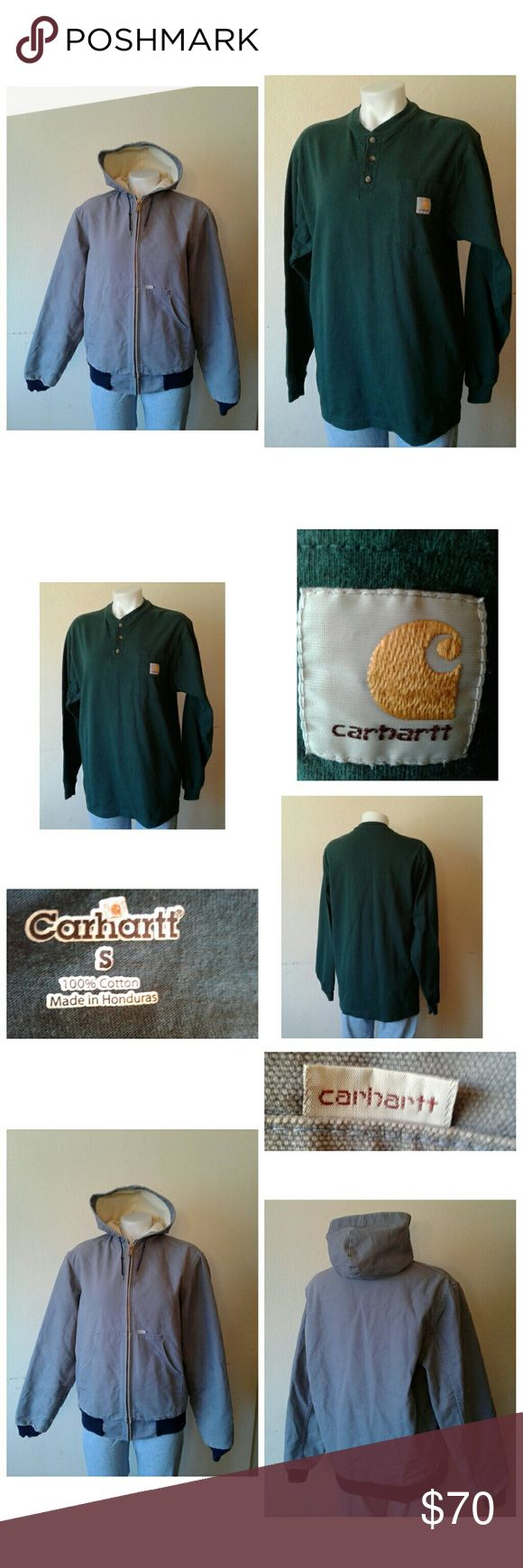 "CarharttWork shirt &  hooded jacket men's med & sm Men's Carhartt work shirt & jacket   Pre Owned Good Condition   100 % Cotton  Pine green work shirt Sm  Length 30"" Sleeves 26"" Shoulder 19"" Armpit 20"" Chest 40""  Ink Blue Hooded Jacket Tag Reads Sz Med, Can Fit Sm  100% Cotton Shell  Cream 100% Polyester Lining   Length 25.5"" Sleeves 27"" Armpit 22"" Shoulder 20"" Chest 46"" Carhartt Jackets & Coats Lightweight & Shirt Jackets"