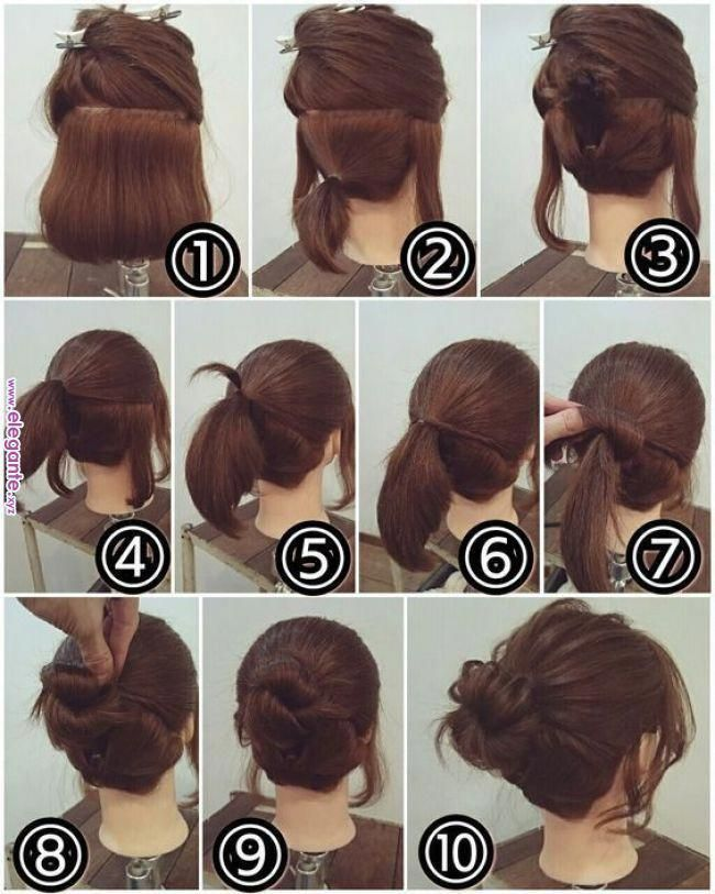 Easy Hairstyles At Home For Medium Length Hair Easyhairstyles Short Hair Makeup Hair Updos Tutorials Short Hair Updo