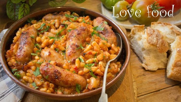 home made baked beans with chipolatas