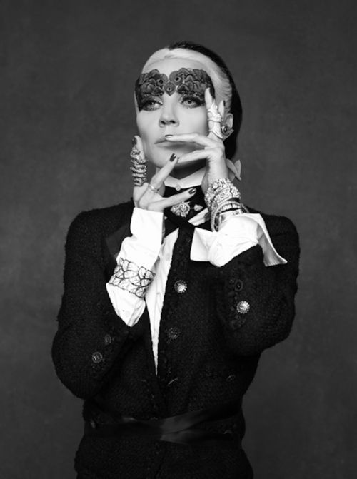 """Daphne Guinness in Chanel's """"Little Black Jacket"""" photographed by Karl Lagerfeld and styled by Carine Roitfeld"""