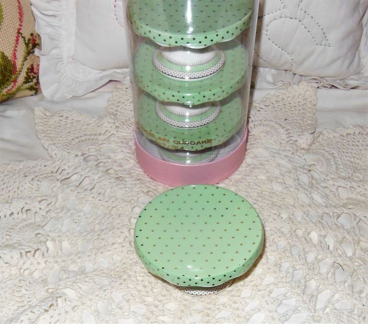 New Grace's Teaware Cupcake Muffin Stand Mint Green Gold Dots Scalloped Edge #GracesTeaware
