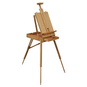 Byron Sketch Box Easel. Eckersley's Exclusive Byron Sketch Box Easel ideal for outdoor oil and water colour painting. Comes fully assembled and folds into a compact unit for storage. Wooden palette and shoulder strap are included.