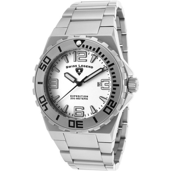 Swiss Legend Expedition Ss Silver-Tone Ss Black Accents (349714401) ($60) ❤ liked on Polyvore featuring men's fashion, men's jewelry, men's watches, watches, swiss legend mens watches, mens watches, mens rose gold watches, blue dial mens watches and mens diamond bezel watches