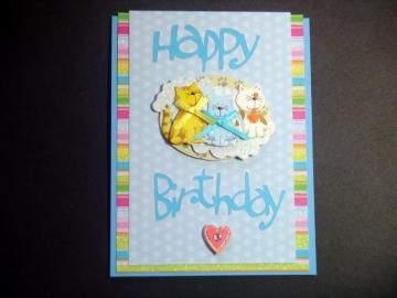 #HappyBirthdayCard with Three #Cats done in Blues , Birthday Cards , Greeting Cards , Cards with Cats by #BethiesCards for $6.50 #zibbet