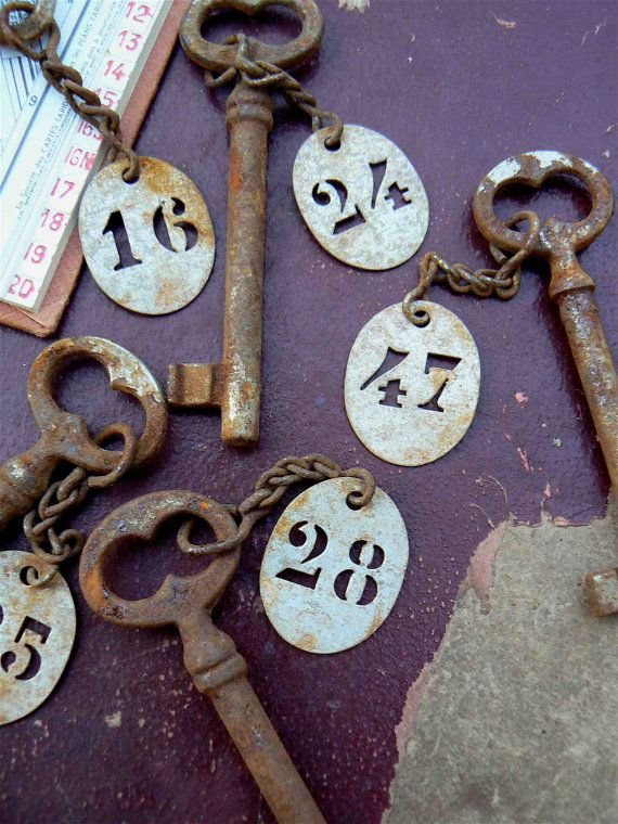 Vintage French Rusty Key with Room Number
