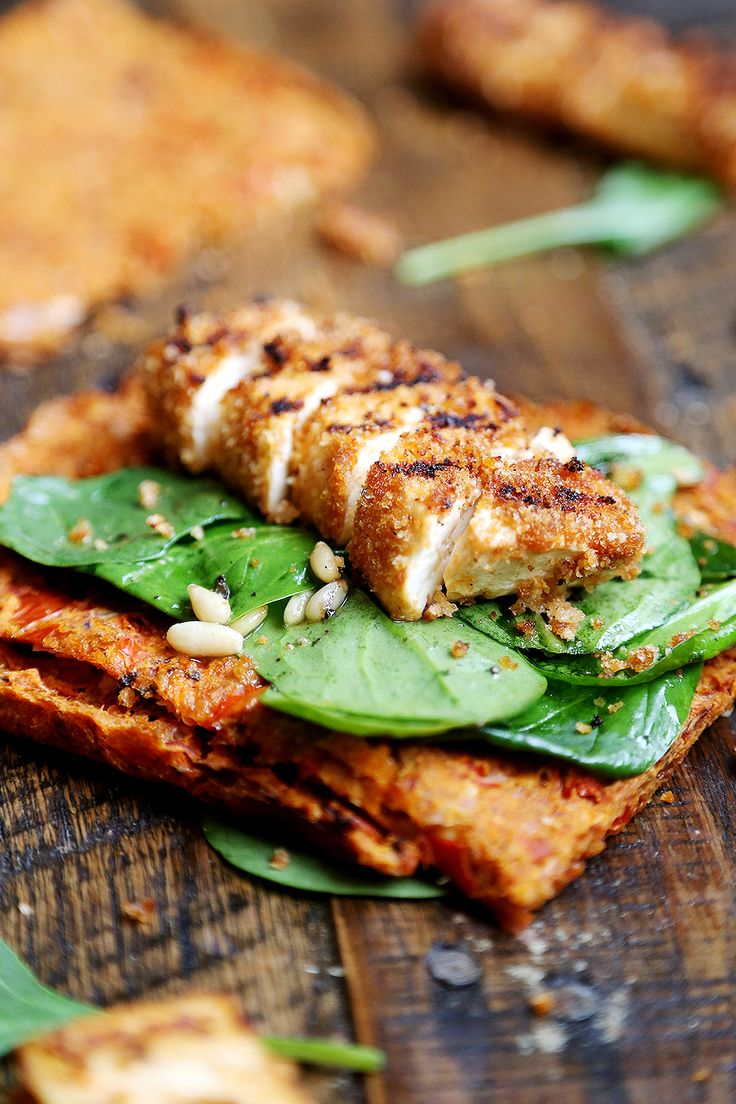 Grilled Breaded Tofu Steaks with Spinach Salad and Tomato Flaxseed Bread  (Vegan)