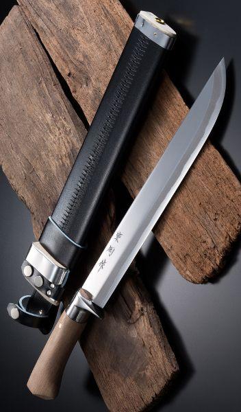 HONMAMON AZUMASYUSAKU Hunting Knife 300mm(abt 11.8 Inch) Blade Edge Aogami Steel with Leather Case