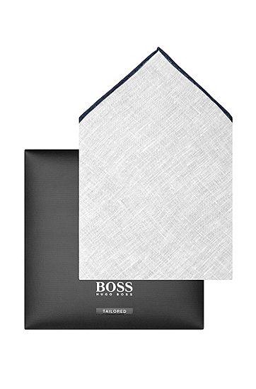 Pochette da taschino 'Pocket square 33x33' in lino, Blu scuro