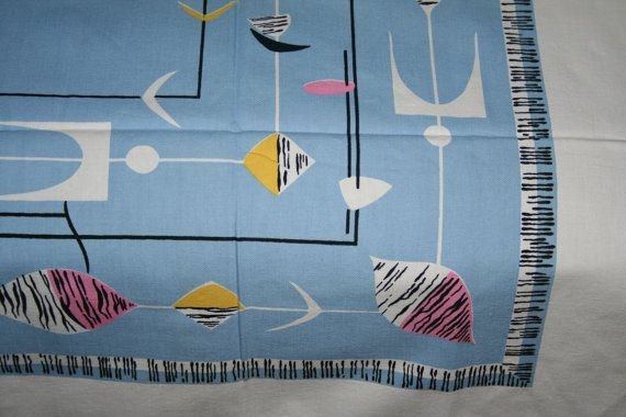 Vintage Atomic Abstract  MIdCentury Tablecloth MINT by randomretro, $194.00