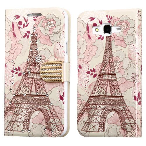 MYBAT Diamante Belt Wallet Samsung Galaxy J7 Case - Eiffel Tower