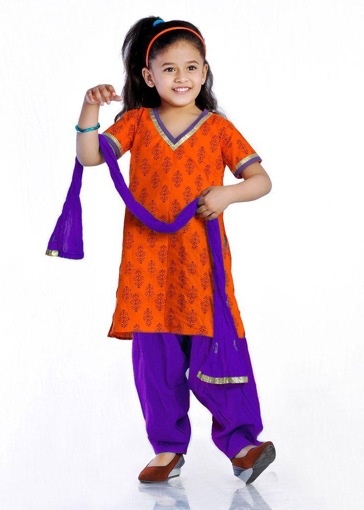 Orange and blue salwar for girls.