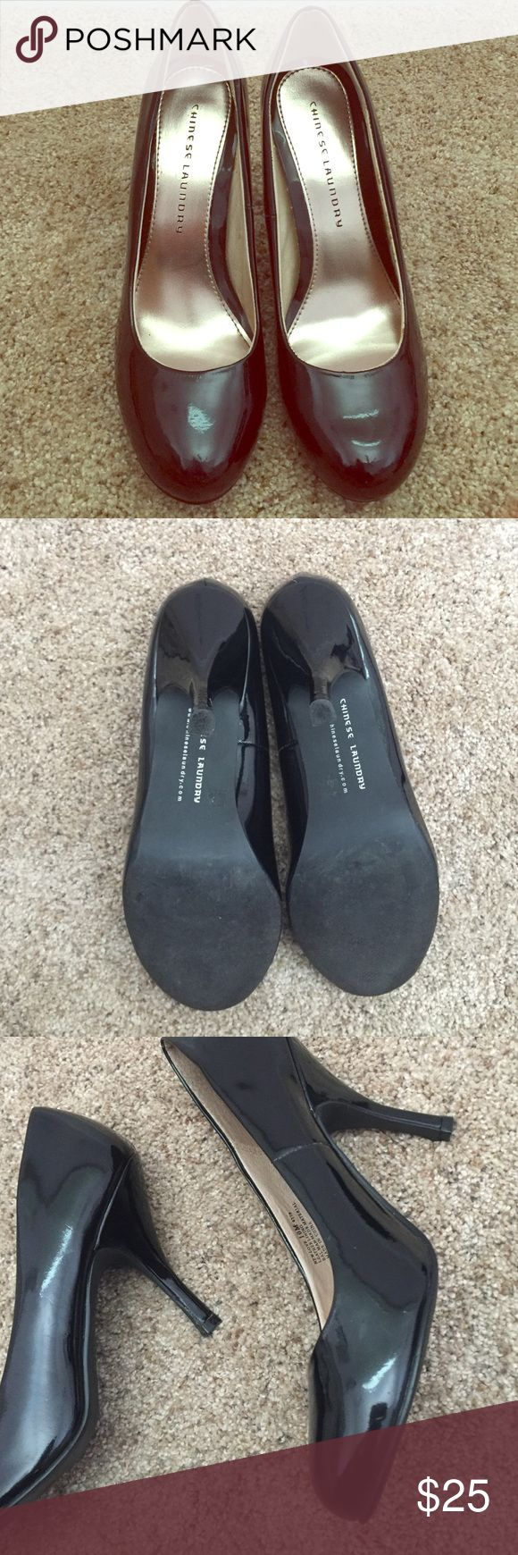 Chinese Laundry Black Pumps 4 inch Heel I wore these Chinese Laundry heels once for about 10 minutes haha... They are size ten and have a four inch heel... These are CLASSICS that any closet could use👠 also no flaws to the surface😊 Chinese Laundry Shoes Heels