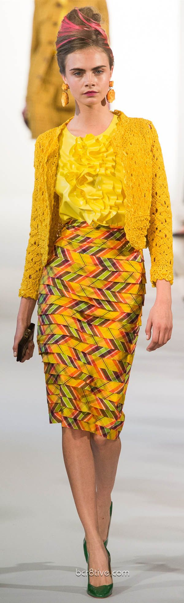 Oscar De La Renta Spring Summer Ready to Wear 2013  Canary yellow crochet sweater and ruffle top with side way pattern chevron skirt