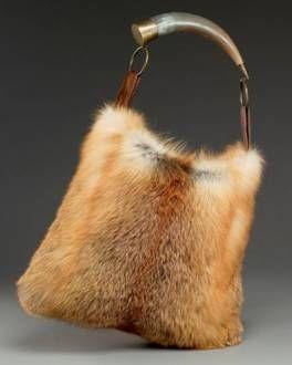 Red Fox Fur Horn Handbag / Purse