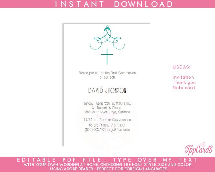 Instant Download 4x6 Blue Cross Baptism Invitations,DIY Editable Pdf,First Communion Invite, Ornate Cross Confirmation Invites AUTOFILL by TppCardS on Etsy