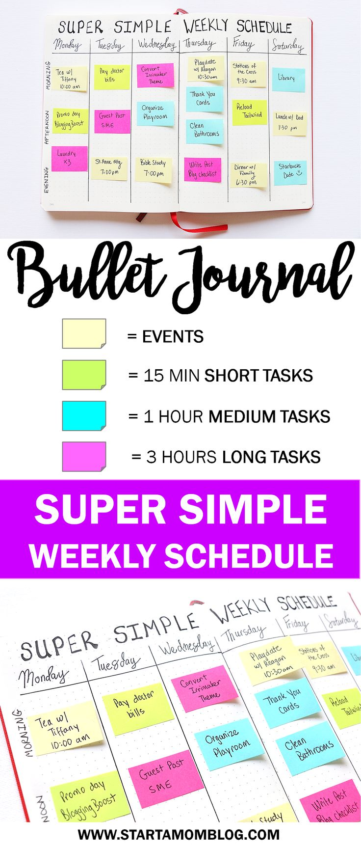 Super simple weekly layout for your bullet journal! This can be reused over and over! Easy, quick and simple way to schedule your week in your bullet journal! www.startamomblog.com