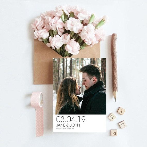 Custom Photo Modern Vertical Clean Minimalist Numeric Date Etsy Engagement Announcement Cards Wedding Saving Wedding Save The Dates