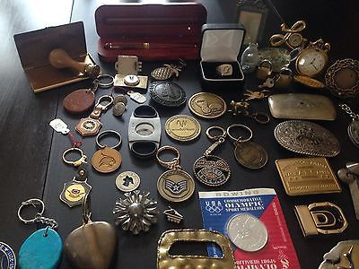 FUN IDEA FOR SELLING ON EBAY: Junk Drawer Lot Swiss Army Knife Coins Alpaco Letter Opener Car Vintage Keychains. #ck15