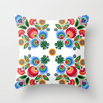 Polish Folk Pattern Throw Pillow by bachullus