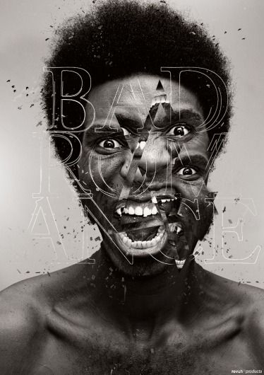 "This is a very contemporary black and white photo titled ""Bad Romance"" by Revuh.  It was definitely photoshoped using geometric shapes, such as triangles to distort her face.  These distortions make her seem like shes engulfed with way too much rage."
