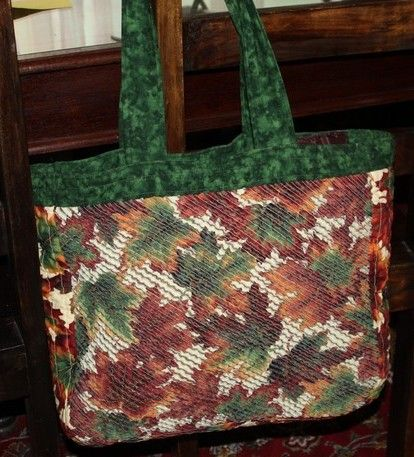 """Faux Chenille fall leaves bag by """"brady"""" from the quiltingboard.com"""