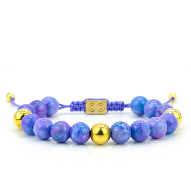 Womens Beaded Bracelet, Sterling Silver, Purple, 14K Gold, Womens Bracelet, Gift for Her, Anniversary Gift, Womens Gift, Christmas Gift