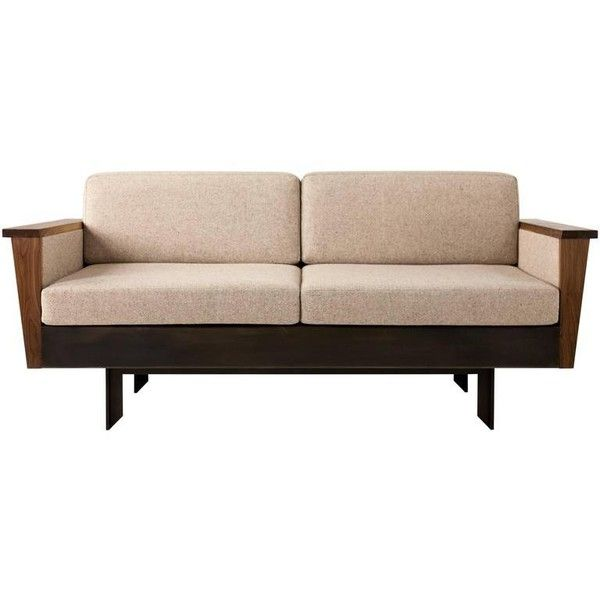 Louise Sofa, Wool, American Hardwood And Steel ($13,400) ❤ liked on Polyvore featuring home, furniture, sofas, brown, hard wood furniture, handmade furniture, hand made furniture, american home furniture and brown's furniture