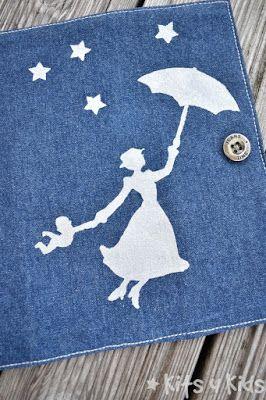 Stoffmalerei, Mutter-Kind-passhülle, Mutterpasshülle, U-hefthülle, Lucky Luke, Mary Poppins