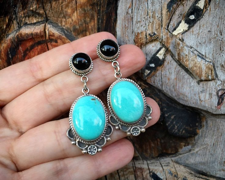 Native American Navajo Hand Stamped Sterling Silver Long Earrings Signed Kevin Yazzie 2 58