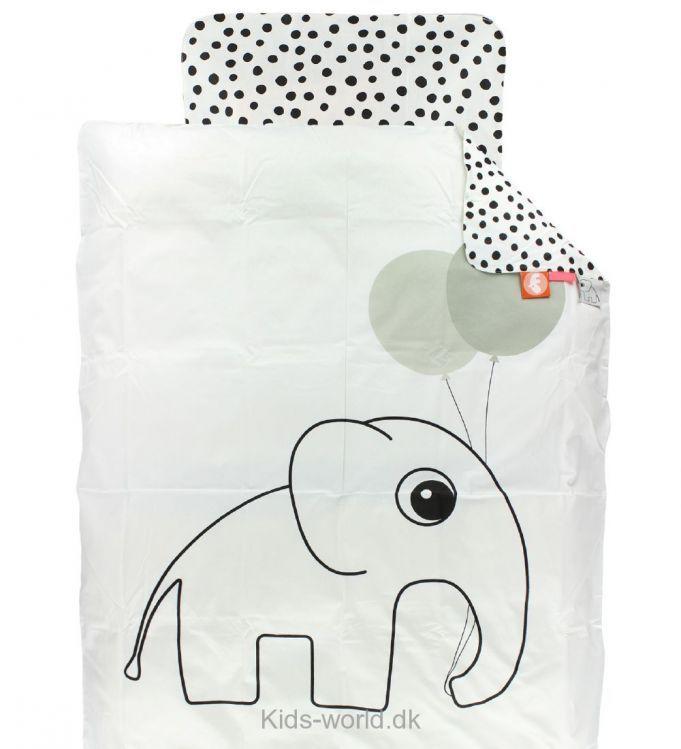 Done By Deer Sengetøj - Junior - Hvid m. Elefant - Børnetøj med fri fragt.