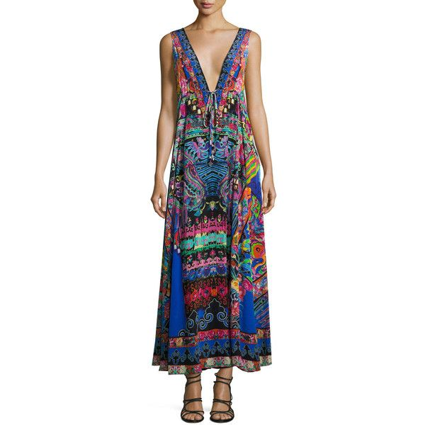 Camilla Long V-Neck Drawstring Silk Dress (45.320 RUB) ❤ liked on Polyvore featuring dresses, multi, v neck long dress, a line dress, long dresses, long maxi dresses and v-neck dresses