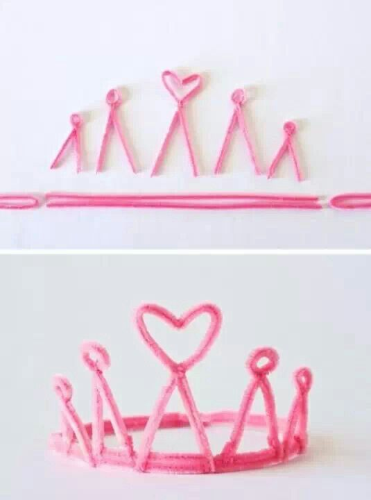 A cute pipecleaner tiara for your little princesses. You could do crowns for the princes as well. A cool birthday party craft!
