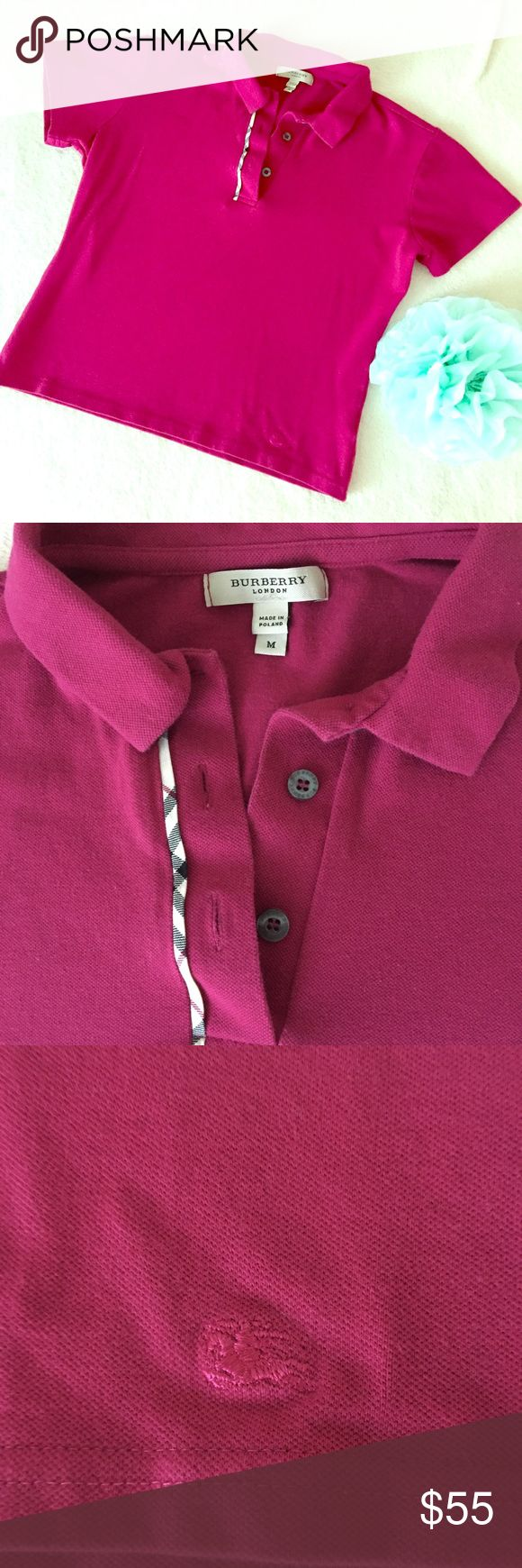 Burberry Polo Shirt Burberry polo shirt. Color between magenta and bright pink. Medium size but runs small. Preloved in very good condition. I love it but it doesn't fit me anymore. Burberry pattern on front as shown on the second photo. Stylish Top! Burberry Tops Button Down Shirts