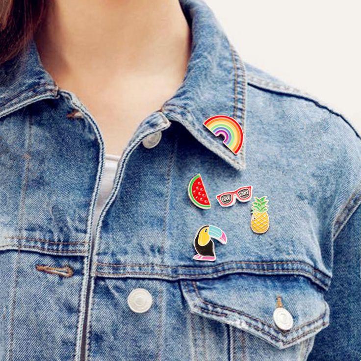 Ananas Toekan regenboog Lippen Sap Flamingos Sunglass Watermeloen Hoed Gitaar Broche Denim Jasje Pin Badge Mode-sieraden