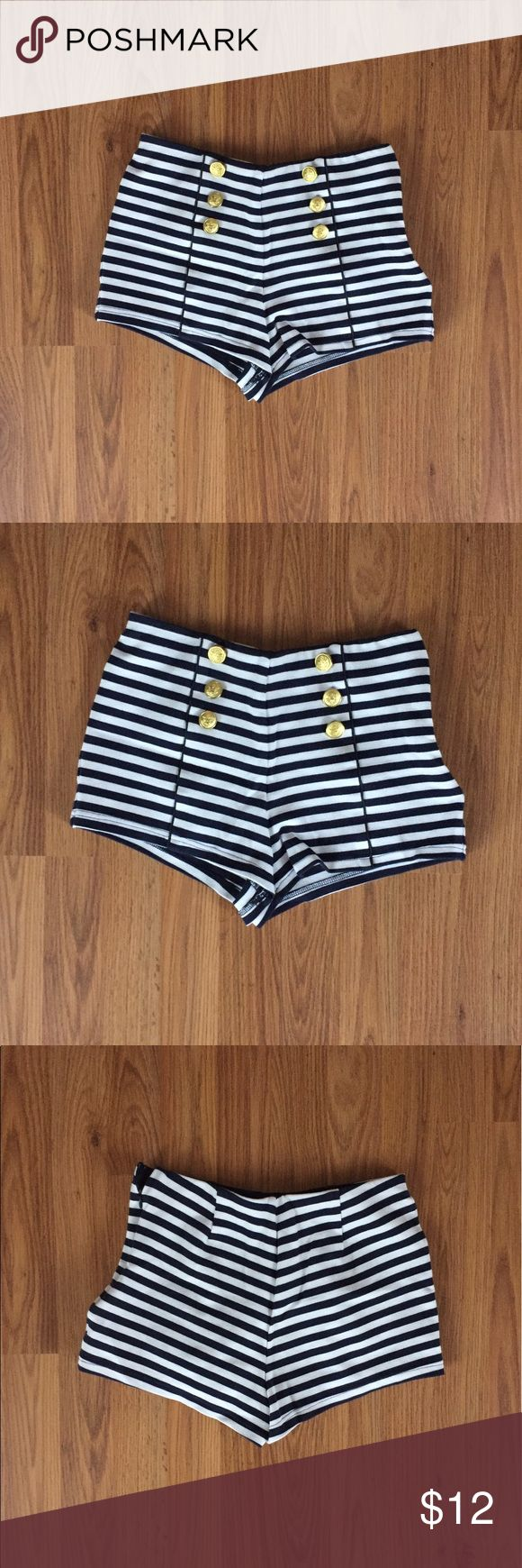 Striped nautical shorts with gold buttons These little sailor shorts have cute gold accent buttons and a side zipper. The waist is elasticized and the shorts have some stretch to them for a comfy fit. They are a Medium but I would size down as they fit more like a small. Forever 21 Shorts