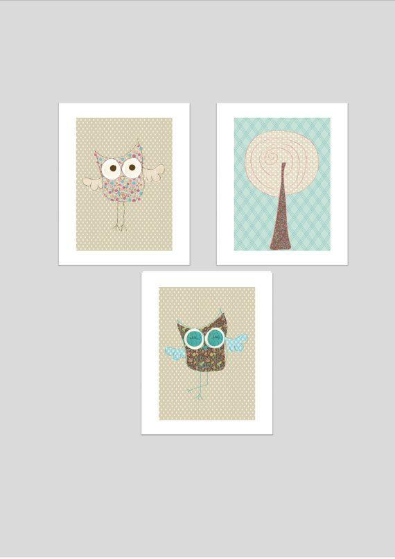 Owls printable nursery art set, instant download, owls nursery art, neutral nursery decor, owls nursery decor on Etsy, $16.11