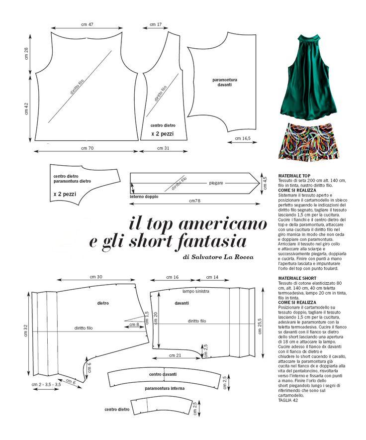 Top and Shorts draft sewing free pattern Patron gratuit ensemble تفصيل مجاني القميص و تبان