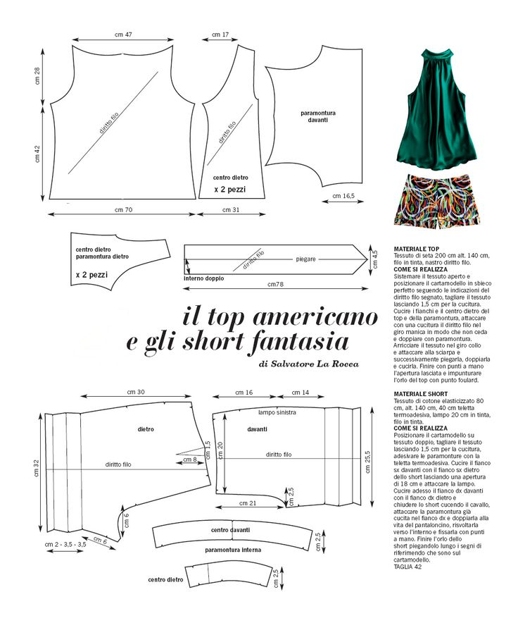 Top and Shorts draft sewing pattern