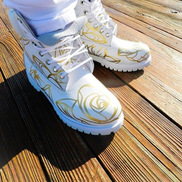 Custom-made Timbs #white #gold #rose