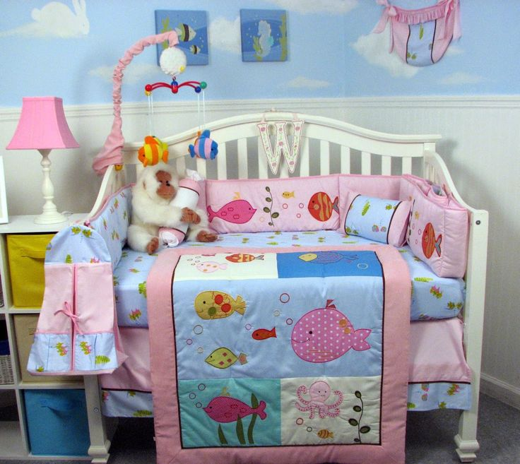 soho designs pink gold fish aquarium baby crib bedding set 13 pcs included diaper bag with changing pad u0026 bottle case