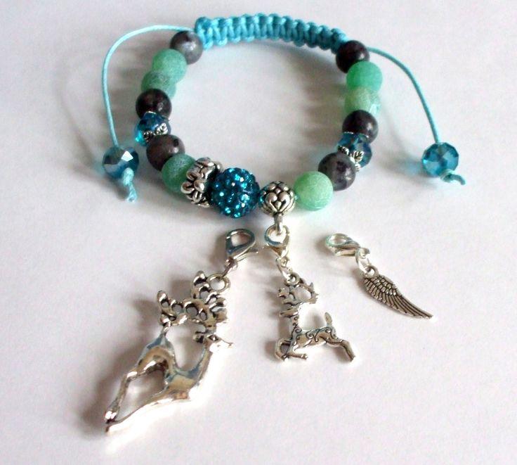 Agate and labradorite gemstone bracelet Shamballa bracelet Macrame jewel Reindeer charm Christmas gift Winter bracelet Gift for her Handmade by dorijewelnook on Etsy