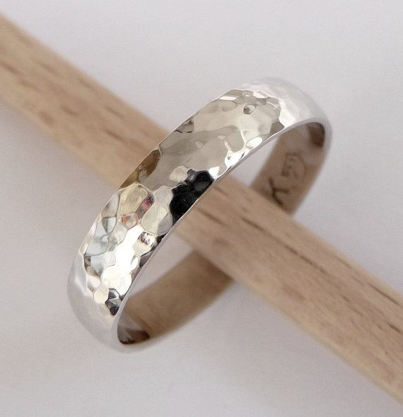 White gold hammered wedding band wedding ring 4mm wide woman mens wedding ring