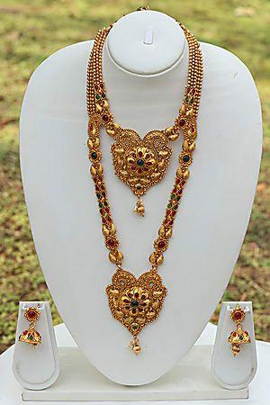 524881c4d3 Craftsvilla Heart Shape Green Maroon Necklace Set | Jewellery ...