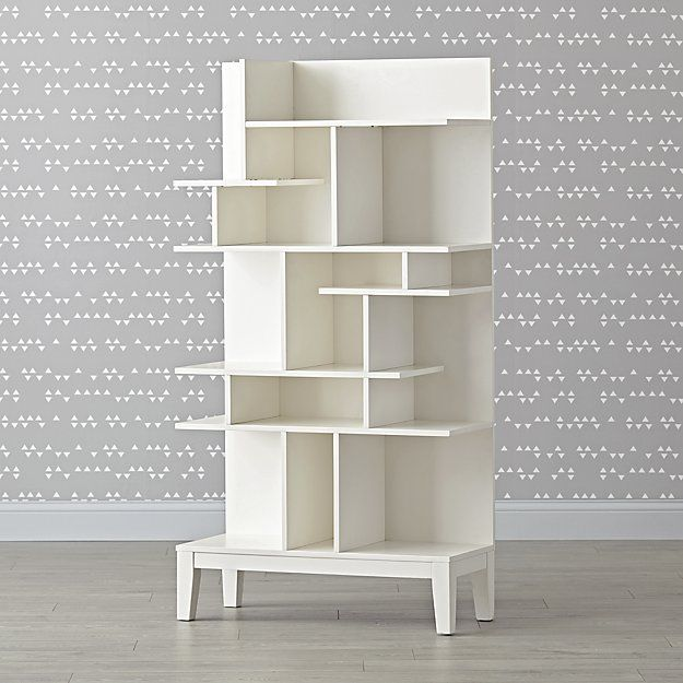 Maze Tall White Geometric Bookcase Crate And Barrel Bookcase Bookcases For Sale White Bookcase