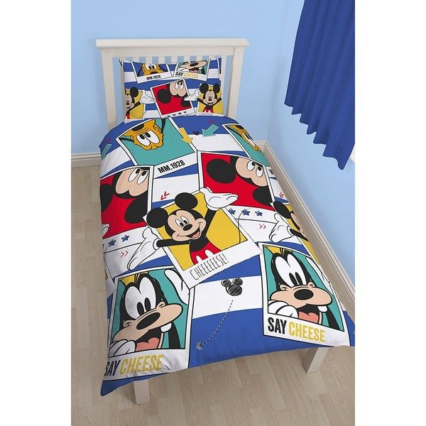 Mickey Mouse Polaroid Reversible Single Duvet (515 ARS) ❤ liked on Polyvore featuring home, bed & bath, bedding, duvet covers, polaroid and mickey mouse bedding