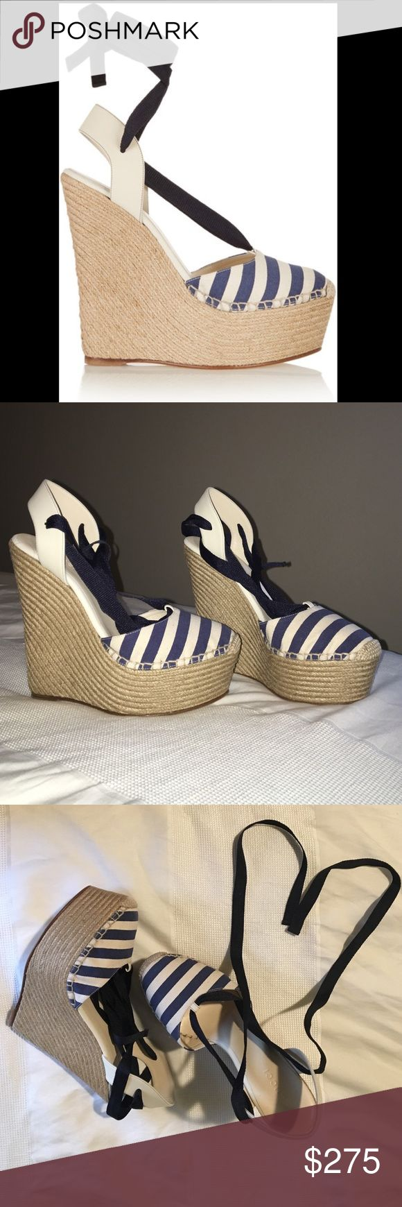 Gucci Sepang St. Stripe Wedges Striped canvas and leather wedge, lace up espadrille. Brand new still in box, never worn. Gucci Shoes Wedges