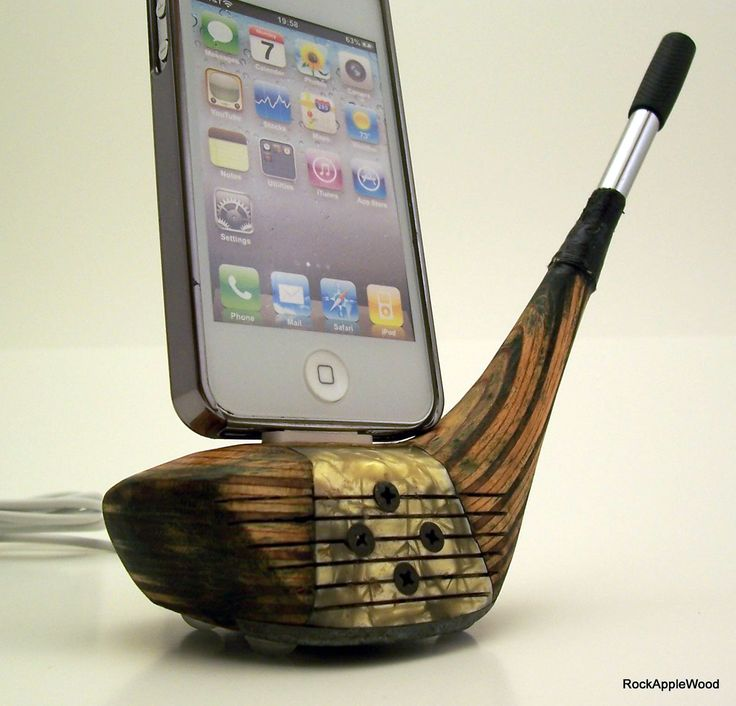 Refinished Vintage Wooden Golf Club iPhone Dock
